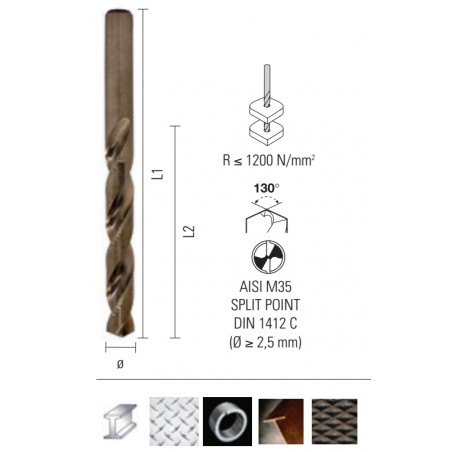 Burghiu HSS pentru metal - ONIX Co5